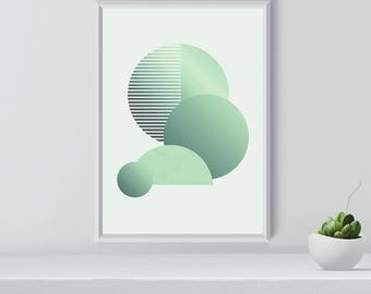 Mint Abstract Art Print, Circles, Geometric Art Print, Contemporary art, Modern Wall Art, Abstract Poster, Christmas Gift Idea, Printable