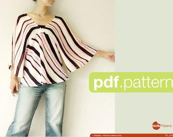 PDF à coudre motif femme Kimono manches tunique - Warabi-(taille 34-48)