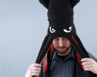 Large Fleece Squid Hat - Black
