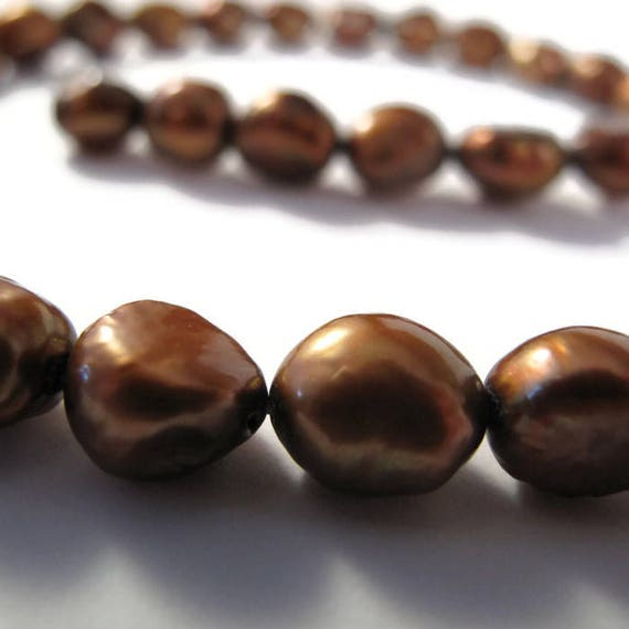 Vintage Bronze Freshwater Pearls, Brown Pearl Beads, 9mm - 10mm Round Potato Pearls for Jewelry Making, 38 Pearls (P-P2)
