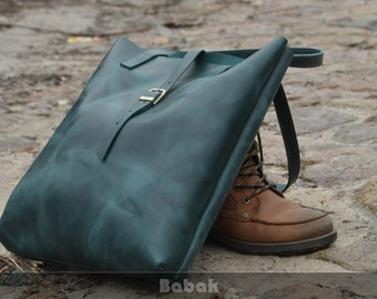 Green leather tote, Green leather bag, Leather handbag, Leather Shoulder bag, Tote bag leather, Shoulder bag leather, Green purse leather