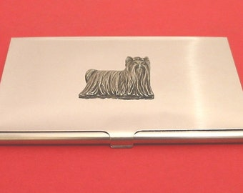 Yorkshire Terrier Chromed Card Holder With Hand Cast Pewter Pet Vet Father Mother Yorkie Gift
