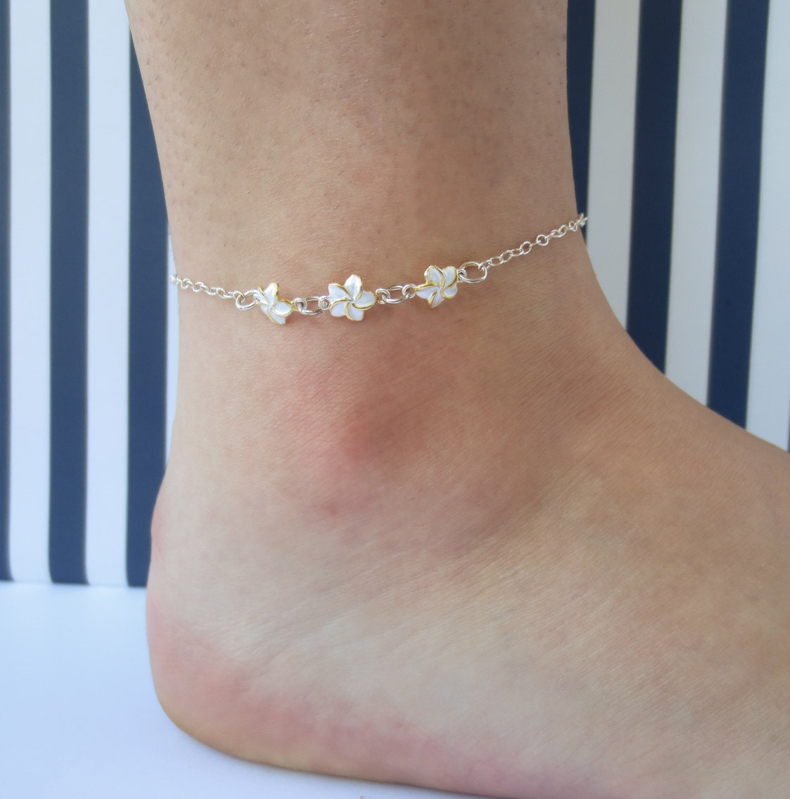 pin sea flower turtle plumeria silver anklet tricolor hawaiian