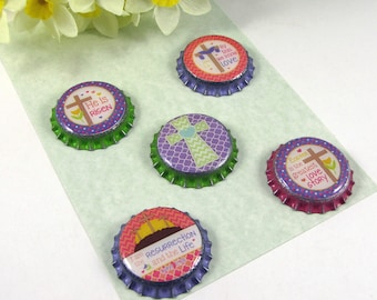 Easter Magnets -He Is Risen -Easter Cross -Religious Decoration -Holiday Decor -Seasonal Magnet Set -Bottlecap Magnet Set -Easter Decoration