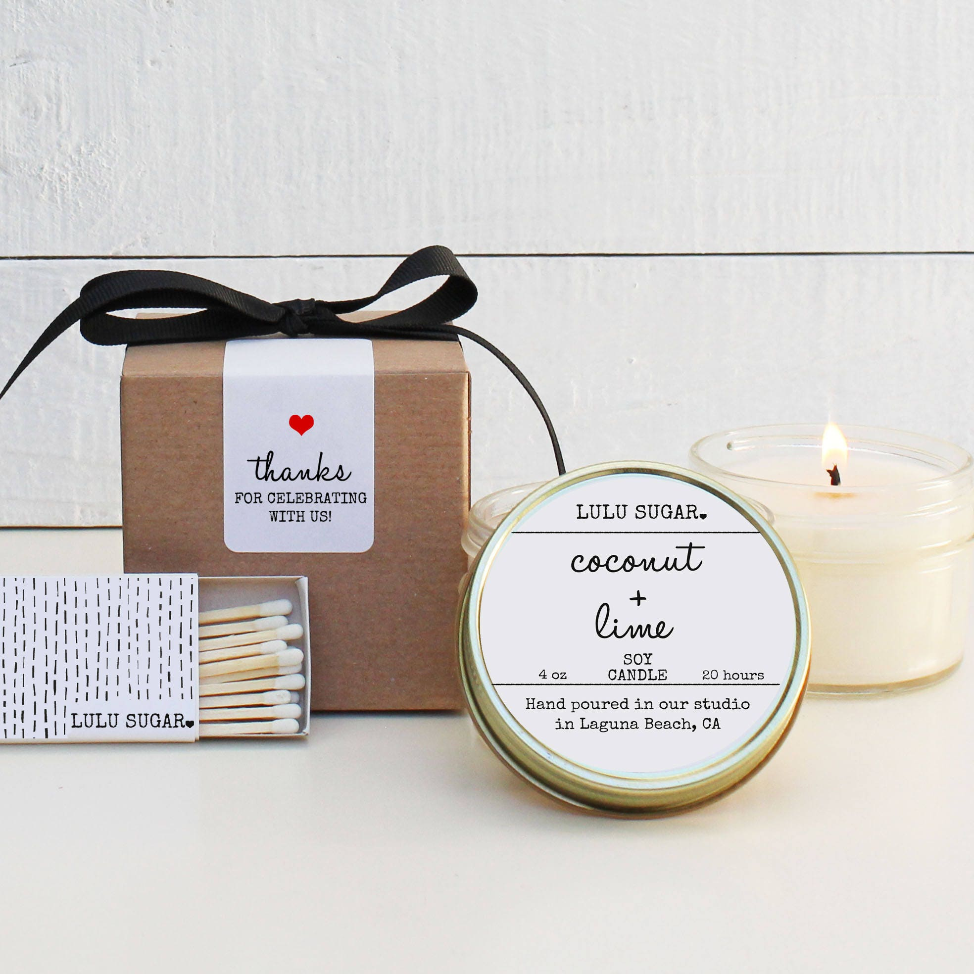 Wedding Favor Candles Set of 6 4 oz Coconut Lime Scented Candles