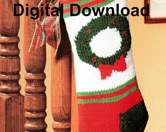 Christmas Stocking Knitting Pattern, Christmas Wreath, Vintage Holiday DIY, Crafting, PDF Instant, Digital Download