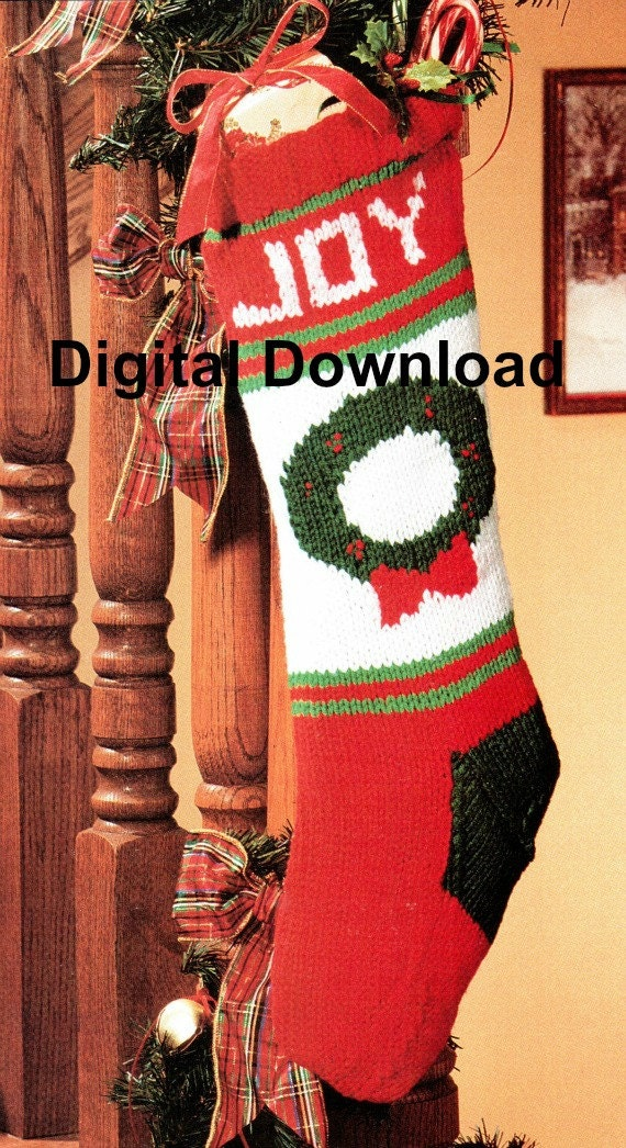 Christmas Stocking Knitting Pattern Christmas Wreath Vintage