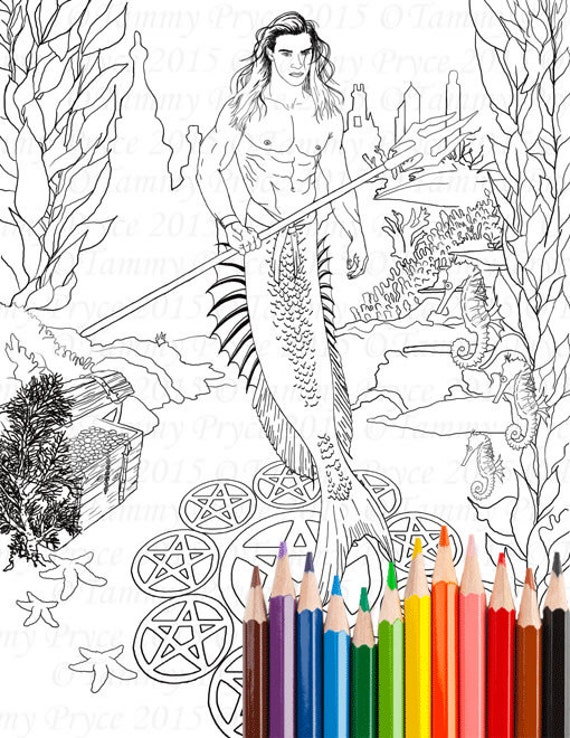 Fantasy Merman Adult Coloring Page Digi Stamp Instant Download Printable PDF