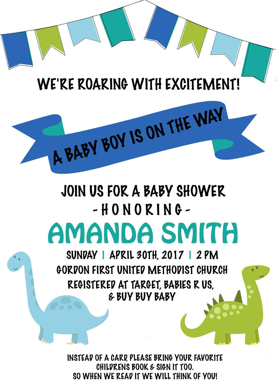 Printable Dinosaur Baby Shower Invitation Roaring With