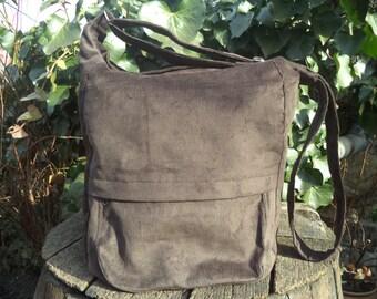 Brown corduroy messenger bag,zippered big bag