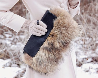 Fur clutch Real fur bag Clutch bag Fur purse Evening fur clutch Gift for her gift for woman Mothers day gift Brown clutch