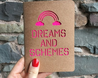 Dreams and Schemes A6 Cutwork Paper Cut Blank Notebook with neon pink - 32 Pages - Recycled Paper-Notepad-gift for her-stationery-rainbow