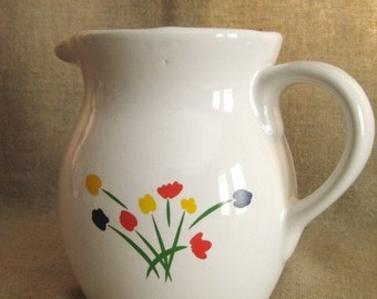 Retro Ceramic Pitcher With Red, Yellow, Blue Tulips/ Vintage White Pitcher with Floral Design