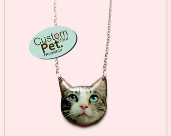 Custom Pet Necklace Pet Photo Pendant Cat and Dog Personalized Necklace Photo of your pet Custom Portrait Pet memorial jewelry