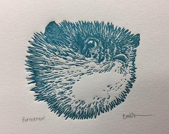 Pufferfish Letterpress Print - Limited Edition Blue