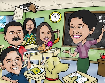 3+ppl CUSTOM CARICATURE Family & Friends Personalized Drawing / Cartoon Portrait / Digital Illustration