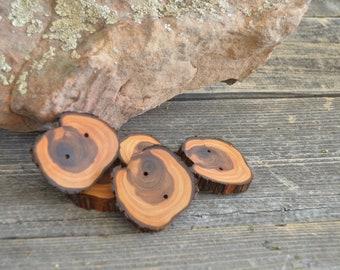 5 boutons en bois - Juniper, boutons à la main (4008)