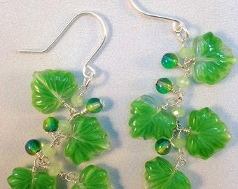 Grape Leaves Glass Earrings| Green Leaf Earrings| Leaf Dangle and Drops| grape lovers earrings| wine lovers jewelry|