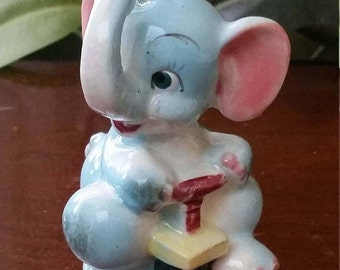 Cute Figurine of a Blue Elephant Riding a Scooter,  50's 60's, Kitschy Baby Elephant,  Nursery Room Decor,  Baby Shower Cake Topping