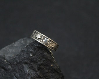 Sterling Silver Star Band Ring, Sterling Silver Star Ring, Star Jewelry, Star Pattern Band, Star Pattern Sterling Silver Band Ring