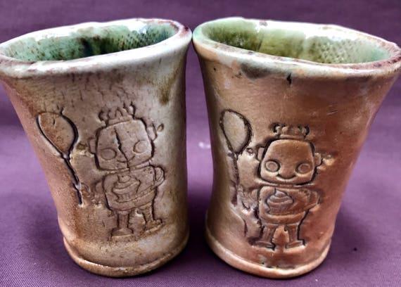 Pair of Salt Fired Robot Shot Glasses/ Egg Cups