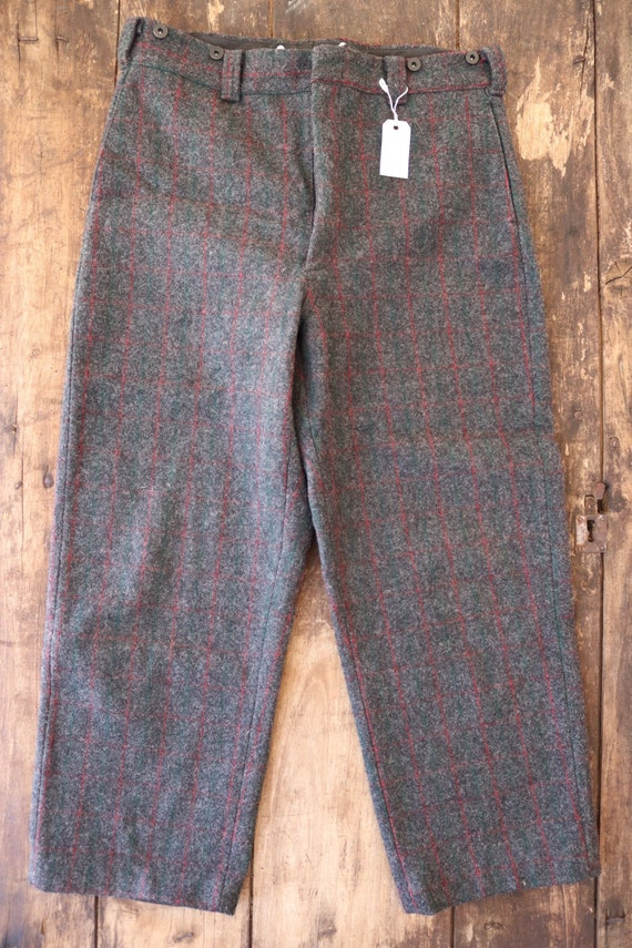 "Vintage Woolrich grey red green checked plaid wool hunting trousers pants suspender buttons 35"" x 28"""