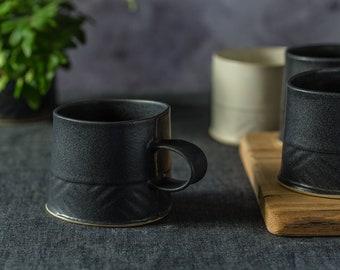 Black Coffee Mug, Large Ceramic Mug, Modern Coffee Mug, Minimalist Mug, Unique Coffee Mug, Handmade Mug, Black Stoneware Mug, Coffee Lovers