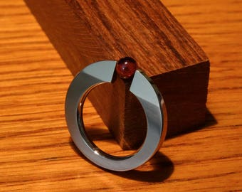 Handcrafted stainless steel ring with tension-mounted ruby ball, simple design red stone solitaire ring, Style B