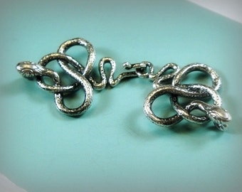 1 Silver Snake Hook Clasp - 925 Sterling Silver Oxidized 50x19mm