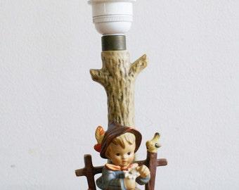 Vintage Hummel lamp, She loves me, she loves me not. Original retro lamp, Goebel/West Germany