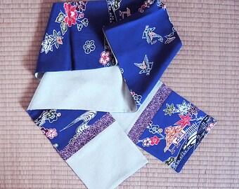 Colorful bingata-style on navy, Japanese silk kimono scarf
