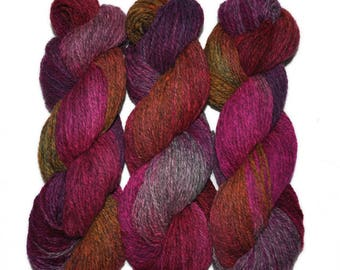 Hand dyed yarn - Alpaca / American wool yarn, Worsted weight, 240 yards - Accla