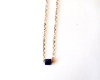 Rose Gold Blue Gemstone Necklace / Minimalist Blue Rose Gold Necklace /Modern Geometric Rectangle Blue Lapis Gemstone Coppper Chain Necklace