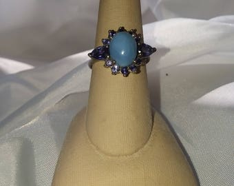 Oregon Blue Opal and Iolite Sterling Silver Ring OOAK