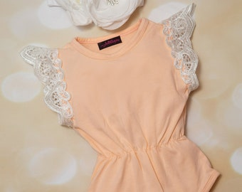 Baby Girl Cotton Peach with Lace on Sleeves One Piece Girls Sleeveless Peach Lace One Piece
