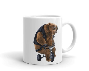 Punk Rock Grizzly Bear on Tricycle - Mug