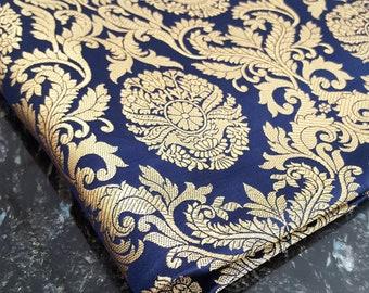 Navy Blue Indian Gold Brocade Material, 5 Meters for Indian Wedding Lengha Navy Blue Punjabi Indian Sari Indian Jewelry, Gold Brocade Fabric