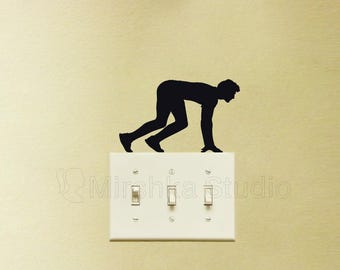 Running Light Switch Fabric Decal - Sports wall Sticker - Sprinter Man Decor - Cool Teen Room Wall Art - Funny Laptop Decal - Runner Gifts