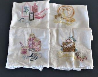 Days of the Week towels set of 4 vintage