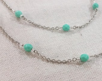 Delicate Long Aqua Bead Necklace