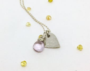 Pink Amethyst Sterling Silver Heart Necklace