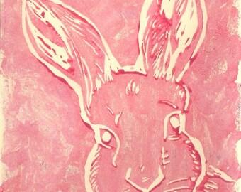 Linoprint, engraving and printing-Pink rabbit