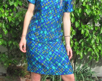 Super 70s's Hadmade Blue Psychedelic Floral Dress