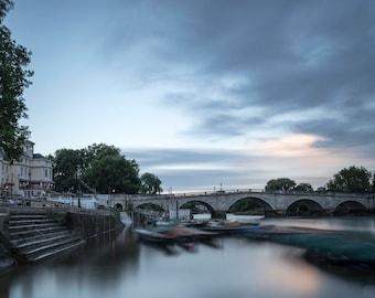 Boats at Richmond Bridge, Richmond upon Thames, UK. Landscape Photographic print.