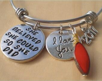 She Believed Bangle, Milestone Bangle, Adjustable Bracelet, Charm Bracelet, Jewelry Findings