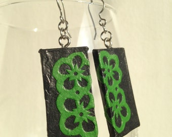 Black Green Handmade Hanji Paper Earrings Flower Design Hypoallergenic hooks Lightweight Dangle Ear rings