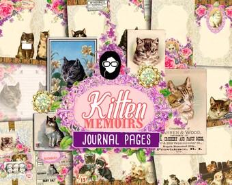 Junk Journal kit - Kitten Memoirs - 11 Journal Refill Pages, printable diary pack, vintage junk journal, floral digital paper, diy journal