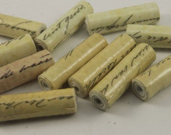"""11 Paper Beads,Hand Rolled, Scripted Tube Paper Beads, (1"""" Inch lenght), 3mm Bead Hole Bicone Beads, Craft Beads"""