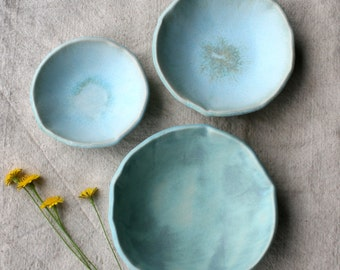 Set of 3 Ceramic Turquoise Nesting Bowls, Serving Bowls, Handmade Ceramic Bowls, Ceramic  Dishware, Wedding Gift