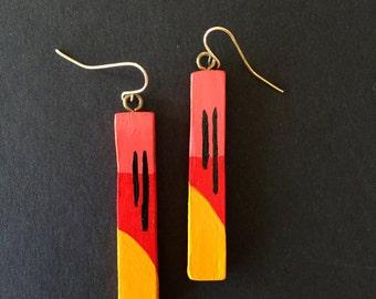 Handpainted Wooden Earrings // Handmade Wooden Earrings // Bar Earrings //